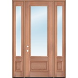 "8'0"" Tall 3/4 Lite Clear Mahogany Wood Door Unit with Sidelites"