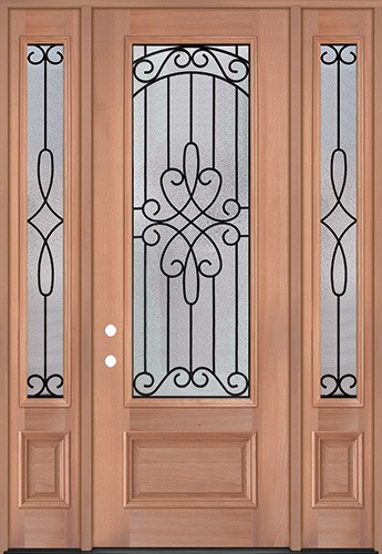 "8'0"" Tall 3/4 Lite Mahogany Wood Door Unit with Sidelites #299"