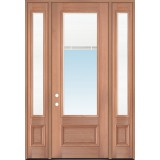 "8'0"" Tall 3/4 Mini-blind Mahogany Wood Door Unit with Sidelites"