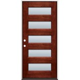 Modern 5-Lite Mahogany Prehung Wood Door Unit