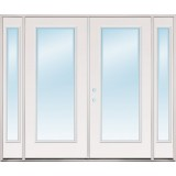 "8'0"" Wide Full Lite Steel Patio Prehung Double Door Unit with Sidelites"