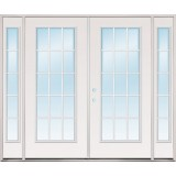 "8'0"" Wide 15-Lite Steel Patio Prehung Double Door Unit with Sidelites"