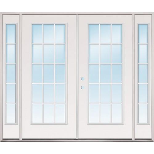 8 0 Wide 15 Lite Steel Patio Prehung Double Door Unit With Sidelites