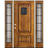 Rustic Pre-finished Fiberglass Prehung Door Unit with Rustic Sidelites, Metal Speakeasy & Clavos