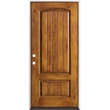 Rustic Pre-finished Fiberglass Prehung Door Unit