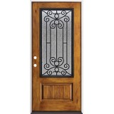 Rustic Pre-finished Fiberglass Prehung Door Unit with Iron Grille #34
