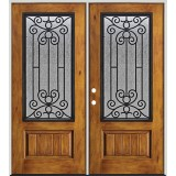 Rustic Pre-finished Fiberglass Prehung Double Door Unit with Iron Grille #34