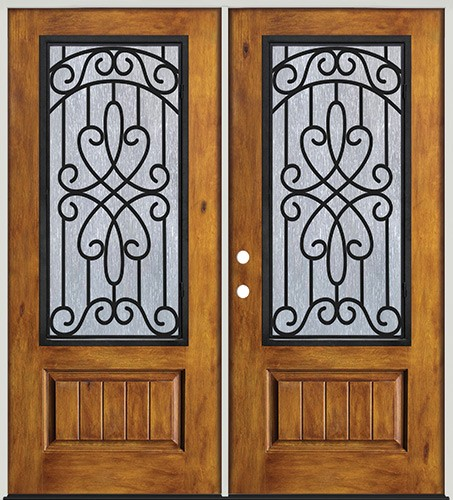 Rustic Pre-finished Fiberglass Prehung Double Door Unit with External Iron Grille #62