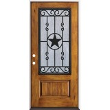 Rustic Pre-finished Fiberglass Prehung Door Unit with Star Iron Grille #75