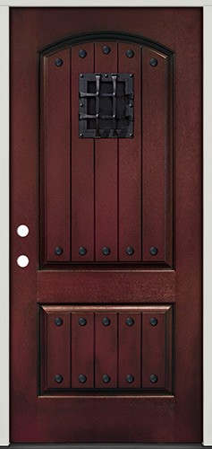 Rustic Pre-finished Mahogany Fiberglass Prehung Door Unit with Speakeasy & Clavos