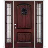 Rustic Pre-finished Mahogany Fiberglass Prehung Door Unit with Rustic Sidelites, Metal Speakeasy & Clavos