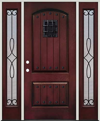 Rustic Pre-finished Mahogany Fiberglass Prehung Door Unit with Sidelites, Speakeasy & Clavos