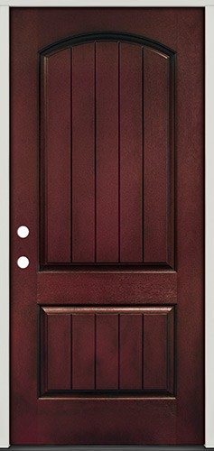Rustic Pre-finished Mahogany Fiberglass Prehung Door Unit