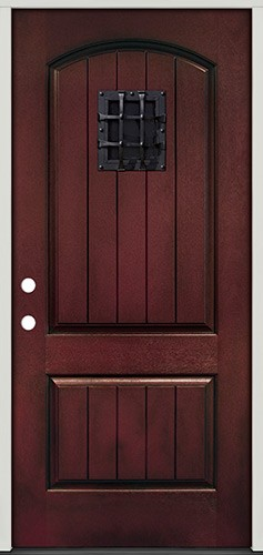 Rustic Pre-finished Mahogany Fiberglass Prehung Door Unit with Speakeasy