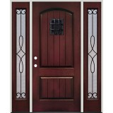 Rustic Pre-finished Mahogany Fiberglass Prehung Door Unit with Sidelites & Speakeasy