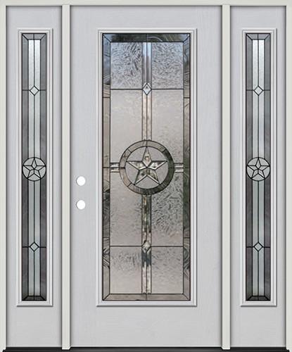 Texas Star Full Lite Fiberglass Prehung Door Unit with Sidelites #90