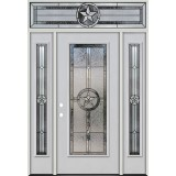 Texas Star Full Lite Fiberglass Prehung Door Unit with Transom #90