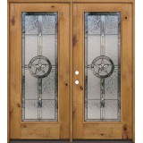 Texas Star Full Lite Knotty Alder Wood Double Door Unit #90