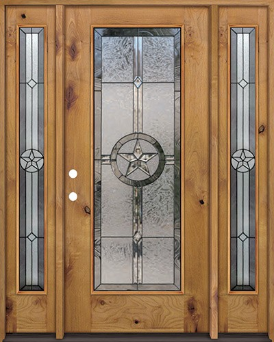 Texas Star Full Lite Knotty Alder Wood Door Unit with Sidelites #90