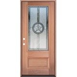 Texas Star 3/4 Lite Mahogany Wood Door Prehung Door Unit #70