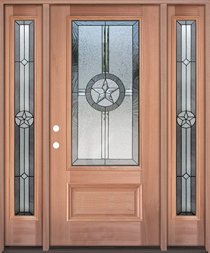 Texas Star 3/4 Lite Mahogany Wood Door Unit with Sidelites #70