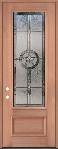"Texas Star 8'0"" Tall 3/4 Lite Mahogany Wood Door Prehung Door Unit #90"