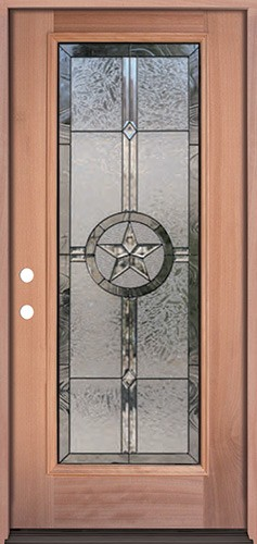 Texas Star Full Lite Mahogany Wood Door Prehung Door Unit #90