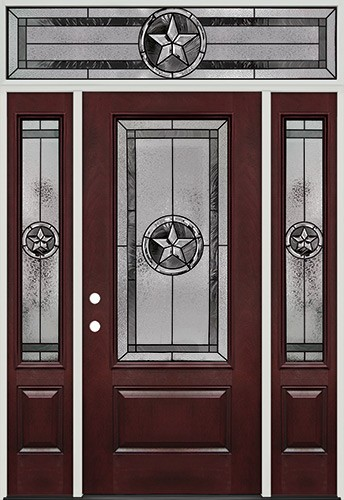 Texas Star 3/4 Lite Pre-finished Mahogany Fiberglass Prehung Door Unit with Transom #70