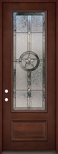 "Texas Star 8'0"" Tall 3/4 Lite Pre-finished Mahogany Wood Door Prehung Door Unit #90"