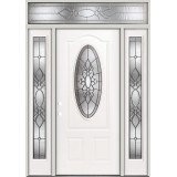 3/4 Oval Steel Prehung Door Unit with Transom #64