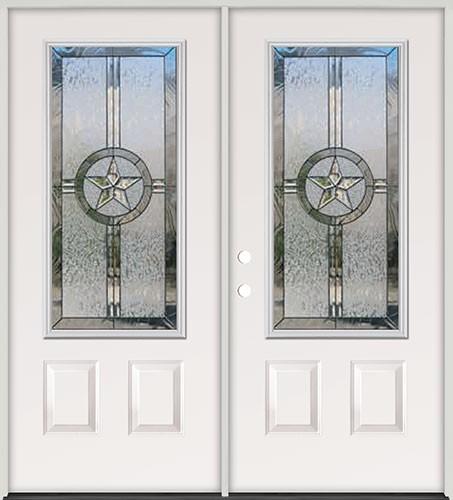 Finer Doors 3 4 Lite Texas Star Steel Prehung Double Door Unit 70