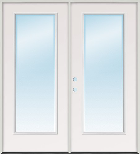 Finer doors 6 39 0 full lite fiberglass patio prehung for Full glass french doors