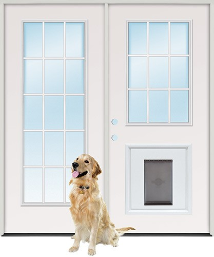 "6'0"" 15-Lite/9-Lite Fiberglass Patio Prehung Double Door Unit with Pet Door Insert"