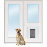 "6'0"" Full Lite/Half Lite Fiberglass Patio Prehung Double Door Unit with Pet Door Insert"