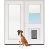 "6'0"" Miniblind Full/Half Lite Fiberglass Patio Prehung Double Door Unit with Pet Door Insert"