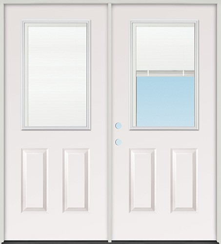 Finer doors 5 39 0 miniblind half lite fiberglass patio for Double opening patio doors