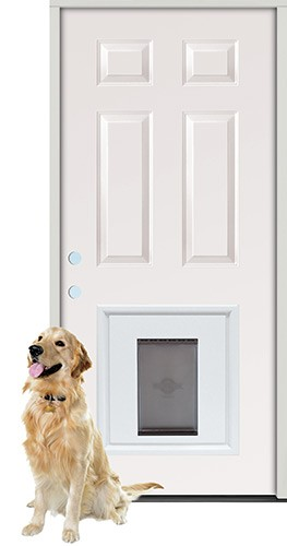 "2'8"" 6-Panel Steel Prehung Door Unit with Pet Door Insert"