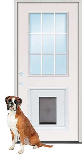 "2'8"" 9-Lite Fiberglass Prehung Door Unit with Pet Door Insert"