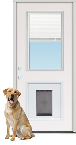 "3'0"" Miniblind Half Lite Fiberglass Prehung Door Unit with Pet Door Insert"