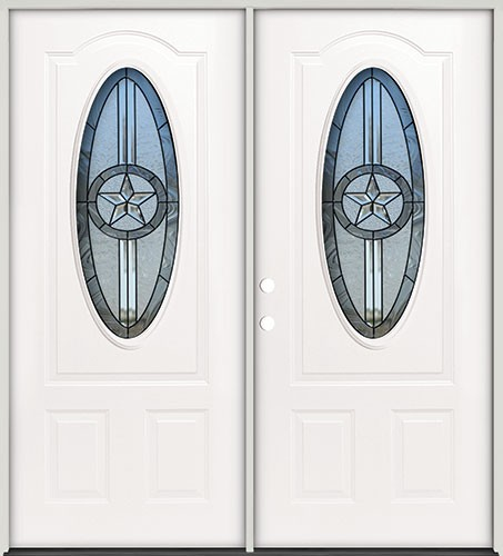 3/4 Oval Texas Star Steel Prehung Double Door Unit #60