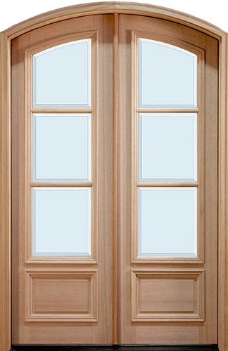 "8'0"" Tall Preston 3-Lite Low-E Mahogany Arch Top Prehung Double Wood Door Unit"