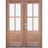 4-Lite Mahogany Prehung Wood Double Door Patio Unit