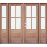 4-Lite Mahogany Prehung Wood Double Door Unit with Sidelites