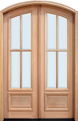 "8'0"" Tall Preston 4-Lite Low-E Mahogany Arch Top Prehung Double Wood Door Unit"