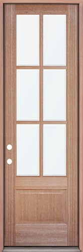 "8'0"" Tall 6-Lite Mahogany Prehung Wood Door Unit"