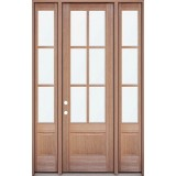 "8'0"" Tall 6-Lite Mahogany Prehung Wood Door Unit with Sidelites"