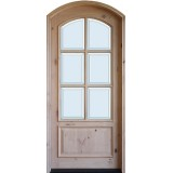 "8'0"" Tall Preston 6-Lite Low-E Knotty Alder Arched Prehung Wood Door Unit"