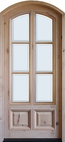 "8'0"" Tall Preston 6-Lite 2-Panel Low-E Knotty Alder Arched Prehung Wood Door Unit"