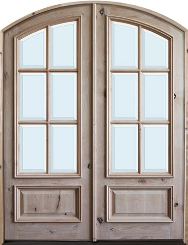 "8'0"" Tall Preston 6-Lite Low-E Knotty Alder Arch Top Prehung Double Wood Door Unit"