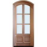"8'0"" Tall Preston 6-Lite 2-Panel Low-E Mahogany Arched Prehung Wood Door Unit"